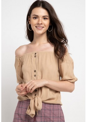 Qlassuale Off Shoulder Knotted Top - Beige
