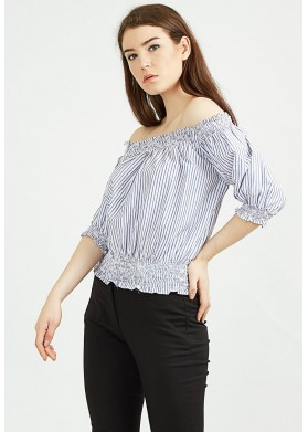 Qlassuale Off Shoulder Stripped Top - Blue